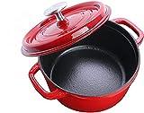 Puricon Emaille Gusseisen Kochtopf mit Deckel, Bräter Gusseisen 4,6L 26 cm Kapazität Auflauf mit runder Kapazität -Rot
