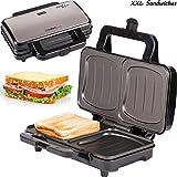 TZS First Austria - 900 Watt Sandwichtoaster für XXL Toast-Scheiben | Thermostat | Backampel | elektrischer Sandwichmaker mit Muschelform | Sandwich-Grill | schwarz | für große Sandwichtoast geeignet