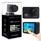 AKASO Action Cam 4K/60FPS 20MP WiFi Actioncam Ultra HD 39M Unterwasserkamera Touchscreen EIS Einstellbar Blickwinkel mit Fernbedienung, 3 Akkus und Zubehör-Kits (V50 Pro SE)