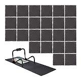Relaxdays 48 Bodenschutzmatten 60x60cm, 18m², Unterlegmatte Fitnessgeräte, Stärke 1cm, erweiterbar, Lärm- & Trittschutz, schwarz