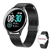 HopoFit Smartwatch Fitness Tracker, HF05 Smart Watch Armband mit Pulsmesser Schlafmonitor,IP68 Wasserdicht Schrittzähler,SMS-Erinnerung Bluetooth Aktivitätstracker Herren Damen für Android iOS(Black)