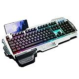RedThunder K900 Halbmechanisch Gaming Tastatur, QWERTZ Layout, RGB Beleuchtete Tastatur, Ganzmetallpaneel, 25 Tasten Anti-Ghosting, Tastatur Für PC/Laptop/PS4/Xbox One