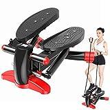 Merpin Stepper Up-Down-Stepper mit Multifunktions-Display, Mini-Fitnessgerät, Hometrainer Stepper Fitnesstraining für Zuhause,Swingstepper für Bein- und Po-Training Pedalmaschine (redblack)