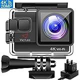 Victure AC800 Action Cam 4K WiFi 20MP Unterwasserkamera 40M Wasserdicht Anti-Shake Helmkamera mit 170 ° Ultra-Weitwinkel Dual Batterien und 22 Montage Zubehör
