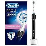 Oral-B PRO 2 2000S Elektrische Zahnbürste mit visueller Andruckkontrolle für extra Zahnfleischschutz, schwarz