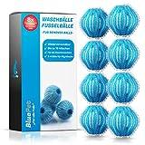 Bluepet® 8x Fusselbälle für die Waschmaschine - Entfernt Tierhaare, Fusseln & Flusen, Haarfänger für Wäschetrockner - Flusenkugeln - Wäscheball (8x Set Hellblau)