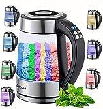 Glas Wasserkocher 1,7 Liter | 2200 Watt | 100% BPA FREI | Edelstahl mit Temperaturwahl | LED Beleuchtung im Farbwechsel | Teekocher | Warmhaltefunktion | Temperatureinstellung (40°C-100°C)