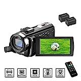 Camcorder Videokamera HD 1080P 24MP Video Camcorder, 16X Digitalzoom Kamera, 3,0 Zoll LCD Bildschirm, vlogging Kamera, Digitalkamera mit Fernbedienung, 2 Batterien (201)