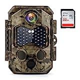Wildkamera 4K 32MP UHD Infrarot nachtsichtkamera 120 °Weitwinkel, 20m Auslöseentfernung 0,2s Schnelle Trigger Geschwindigkeit 45 pcs 940nm IR LEDs IP66 Wasserdichter Bewegungsmelder