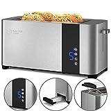Balter Toaster 4 Scheiben, Edelstahl, Brötchenaufsatz, LCD Display, Auftaufunktion, Brotzentrierung, Krümelschublade, TS-24, Farbe: Silber