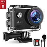 Campark X5 Action Cam 4K 20MP Unterwasserkamera mit Bildstabilisator Fernbedienung Externem Mikrofon Webcam und wasserdichte 40M Helmkamera