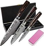Zeuß 3er Set Küchenmesser (32 cm, 24 cm und 20cm) Damastmesser - Profimesser - 67 Schichten - Damaststahl - Santoku - Kochmesser - Chefmesser - Allzweckmesser