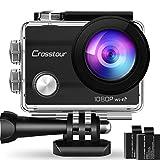 Crosstour Action Sport Cam Wifi 12MP Full HD Unterwasserkamera 2' LCD 170 Weitwinkelobjektiv Helmkamera mit 2 Akkus 1050mAh und Zubehr Kits