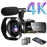 Videokamera 4K Video Camcorder 30.0MP18X Digital Zoom Ultra HD Vlogging Camcorder mit Mikrofon 3'LCD Touchscreen Webcam Funktion YouTube Videokamera mit Gegenlichtblende