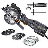 Handkreissge mit Metallgriff, TACKLIFE 710W 3500U Mini Handkreissge mit 6 Klingen, Laser und Parallelanschlag, Schnitttiefe-90: 47mm / 45: 35mm