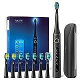 Elektrische Zahnbürste Fairywill 5 Modi Elektrische Schallzahnbürste mit Schwarz Reise-Etui 8 Aufsteckbürsten, 2 Minuten Timer, 4 Stunden USB-Aufladung für maximal 30 Tage, IPX7, Paket Kann Variieren
