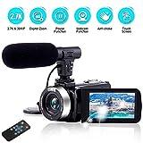 Videokamera Camcorder Ultra HD 2,7K 30MP 18X Digitalzoom Videokamera mit Mikrofon und Fernbedienung 3,0 Zoll Touchscreen Camcorder