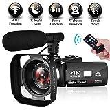 Videokamera Camcorder 4K Ultra HD WiFi Videokamera 3,0 Zoll Touchscreen Nachtsicht Videokamera 4K Camcorder mit Externem Mikrofon