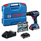 Bosch Professional 18V System Akku Schlagbohrschrauber GSB 18V-55 (max. Drehmoment 55 Nm, inkl. 2x2,0 Ah Akku + Ladegerät, 35tlg. Impact Zubehör Set, in L-Case) - Amazon Edition
