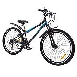 Viribus Mountainbike Blau 26 Zoll, 21-Gang Hardtail Mountainbike Taschenlampe Doppelte V-Bremsen Mountainbike Fahrrad MTB mit Einstellbarem Sitz für Damen Herren Jungen Mädchen