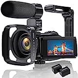 4K Videokamera Camcorder Ultra HD 48MP WiFi IR Nachtsicht-Vlogging-Kamera für 3'IPS-Touchscreen 16X Digitalzoom YouTube-Kamerarecorder mit Mikrofon, Handstabilisator, Gegenlichtblende