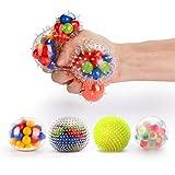 Fansteck Stressball Set [4er-Pack], Squishy Mash Ball / Anti-Stress-Bälle für Kinder und Erwachsene (4 Verschiedene Bälle)