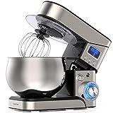 LILPARTNER Küchenmaschine Rührmaschine, 1200W LCD-Anzeige elektrischer Küchenmixer, 6+P-Gang-Teigmischer mit Kippkopf & 5L Edelstahlschüssel, Teighaken, Schläger Mischen, Schneebesen