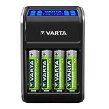 VARTA LCD Plug Ladegerät für AA/AAA/9V und USB-Geräte (inkl. 4x AA 2100 mAh) schwarz