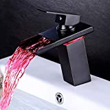 Khosd Led Wasserhahn,Wasserhahn Bad Led Bad Armatur Waschbecken Wasserfall Einhebelmischer Waschtisch Waschtischarmatur Mit Temperatursensor Wasserkraft