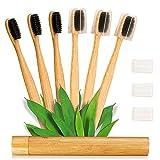 Ventvinal bambus zahnbürsten (Familie 6 Stück) 100% natürliche bambus Toothbrush Original Bambuskohle Bambuszahnbürste Weiches Haar Zahnbürste Kinderzahnbürste Umweltschutz Reise Bambusrohr Set