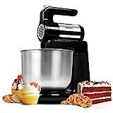 Duronic SM3 Elektrische Küchenmaschine/Standmixer/Rühr- und Knetmaschine/Teigmaschine/Mixer/Standmixer mit 4L Edelstahlschüssel, Rührhaken, Schneebesen und Knethaken, 300W