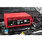 Absaar 77917 Batterieladegerät Auto Ladegerät 22A 12V mit Starthilfefunktion, für 30 Ah - 225 Ah Batterien, rot/schwarz