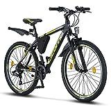Licorne Bike Effect 26 Zoll Mountainbike, geeignet ab 150 cm, Shimano 21 Gang-Schaltung, Gabelfederung, Jungen-Fahrrad & Herren-Fahrrad, Rahmentasche (Schwarz/Lime, 26)