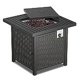 Gas Feuerstelle, 50.000 BTU Outdoor Feuertisch 71x71x64CM, Automatische Zündung, CSA-Zertifiziert, Stabiler Stahl & Lavastein & Deckel, ideal für Patio & Garten
