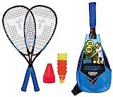 Talbot-Torro Speed-Badminton Set Speed 6600, tolles Komplettset, 2 kraftvolle Alu-Rackets 58,5cm, 6 windstabile Bälle, Cones zur Spielfeldmarkierung, im trendigen Rucksack, cyanblau-schwarz, 490116