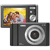 FamBrow Digitalkamera 2,88 Zoll 44 Megapixel 2.7K Mini Digitalkameras mit 16X Digitalzoom Kompakte Digitalkamera mit 2 Batterien für Anfänger (Schwarz)