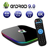 Android TV Box 9.0, 2019 Latest Android Box 4GB RAM 32GB ROM H6 Quad Core Cortex-A53 Smart TV Box, Support 6K 3D Resolution 2.4GHz WiFi Ethernet USB 3.0 Media Player