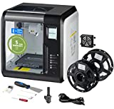 Bresser 3D Drucker mit WLAN und integrierter Kamera, inklusive HEPA Filter für saubere Abluft, Spachtel, 2 Extruder-Düsen (1x Ersatz), 2 x PLA Filament (Weiß, Schwarz) zum sofortigen Start