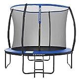 SONGMICS Trampolin  305 cm, rundes Gartentrampolin mit Sicherheitsnetz, mit Leiter und gepolsterten Stangen, Sicherheitsabdeckung, TV Rheinland getestet, sicher, Outdoor, schwarz, blau STR10BK