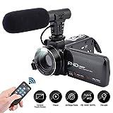 Videokamera Camcorder, 3,0-Zoll-IPS-Touchscreen FHD 1080P-Vlogging Kamera mit Blitz, für YouTube 24-Megapixel-Digital-Camcorder mit externem Mikrofonlautsprecher 16-fach Digitalzoom-Kamera