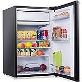 DREAMADE Kühlschrank mit Gerierfach Kühl- und Gefrierkombination, 123L, Gefrorener Kühlschrank, Exquisiter Kühlschrank,mit Höhenverstellbare Füße, 3 Glas-Ablagen (Schwarz)