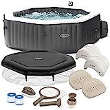 Intex Whirlpool PureSpa 28458 für 4 Personen, Bubble, Jet & Salzwassersystem Komplett-Set mit Extra-Zubehör wie: 2 Sitzkissen, Reinigungsset, Chlor-Dosierschwimmer und Getränkehalter