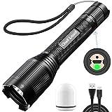 Cheflaud LED Taschenlampe USB Aufladbare Taktische Taschenlampe Superhelle 1200 Lumen Handlampe IP65 Wasserdicht 5 Lichtmodi mit 18650-Batterie für Camping, Wandern, Autoreparatur, Notfall