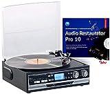 Q-Sonic Musikanlage: 4in1-Plattenspieler mit Bluetooth, Digitalisier-Funktion und Software (Schallplattendigitalisierer)