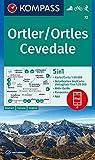 KOMPASS Wanderkarte Ortler/Ortles, Cevedale: 5in1 Wanderkarte 1:50000 mit Panorama, Aktiv Guide und Detailkarten inklusive Karte zur offline ... Skitouren. (KOMPASS-Wanderkarten, Band 72)