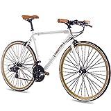 CHRISSON 28 Zoll Retro Rennrad Vintage Bike - Vintage Road 3.0 Weiss 56 cm mit 21 Gang Shimano Tourney Schaltung, Urban Old School Fahrrad für Damen und Herren
