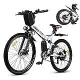 Vivi Elektrofahrrad E-Bike Herren und Damen,26 Zoll E-Bike Mountainbike 350W, 36V 10Ah Lithium-Batterie und Shimano 21-Gang Weiß