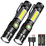 Karrong LED Taschenlampe Magnet Zoom USB Aufladbar (mit 18650 Akku) Super Helle Taktische CREE Taschenlampen für Camping Wandern Notfall