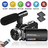 Camcorder Videokamera Full HD 1080P 24.0MP Camcorder Kamera mit Mikrofon 18X Digital Zoom Vlogging Kamera für YouTube