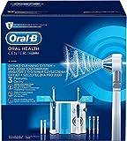 Oral-B Pro 2000 Elektrische Zahnbürste mit OxyJet Munddusche, 3 Aufsteckbürsten, 4 Ersatzdüsen, Set für Zahnreinigung und Zahnpflege, Designed by Braun, weiß/blau